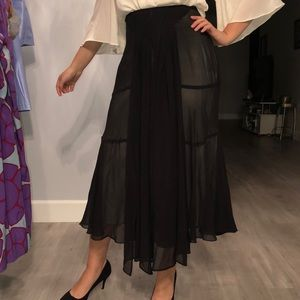 100% silk asymmetrical gorgeous midi skirt